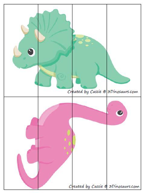 printable dinosaur puzzle free for kids dinosaur 4 part puzzles
