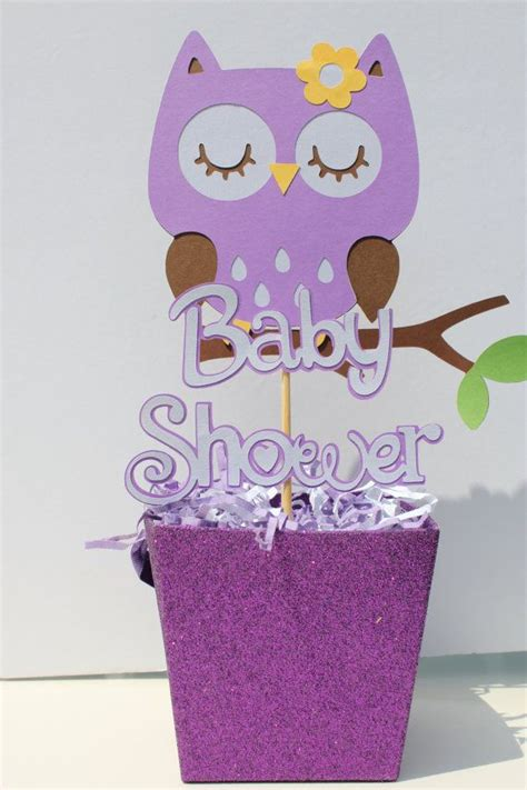 Baby Shower Sleeping Owl Centerpiece Purple By Owl Centerpieces For Baby Shower