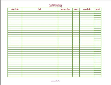 bill tracker template monthly planner with space autos post