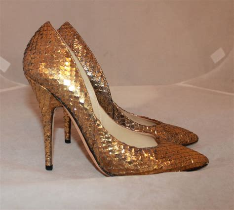Fladeo Heels Gold No 39 jimmy choo golden snake high heels 39 at 1stdibs