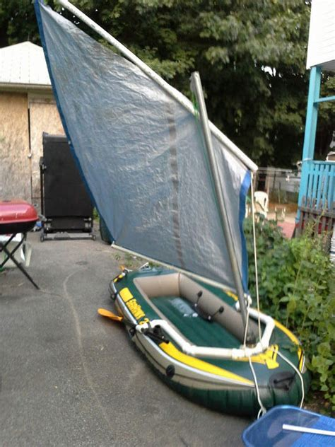 homemade sail for inflatable boat inflatable sailboat 5 steps with pictures