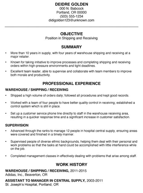 functional resume sle shipping and receiving