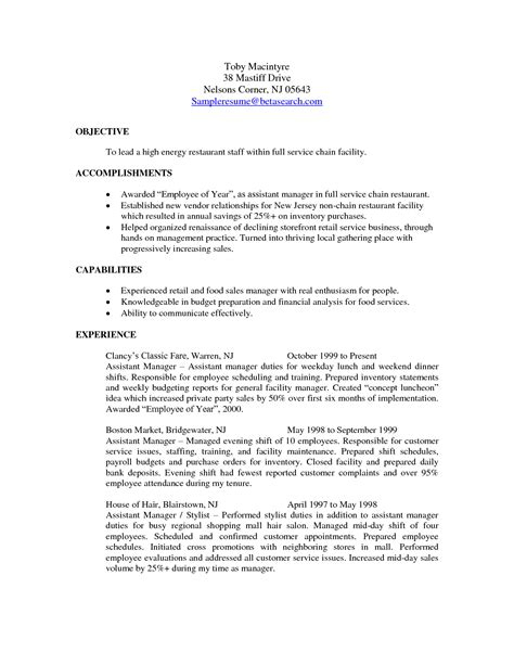 best restaurant assistant manager resume 28 images