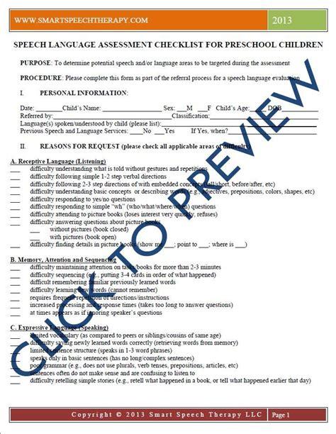 preschool speech language evaluation report template speech language assessment checklist for a preschool child