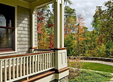 front porch banisters wooden porch railings porch traditional with autumn deck