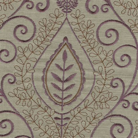 embroidered linen drapery fabric society hill doe purple grey embroidered linen drapery