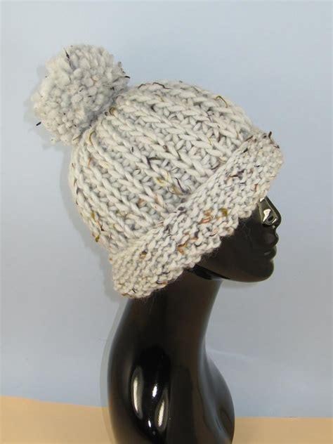 knitting pattern bobble hat chunky moss stitch cuff fishermans rib bobble beanie hat