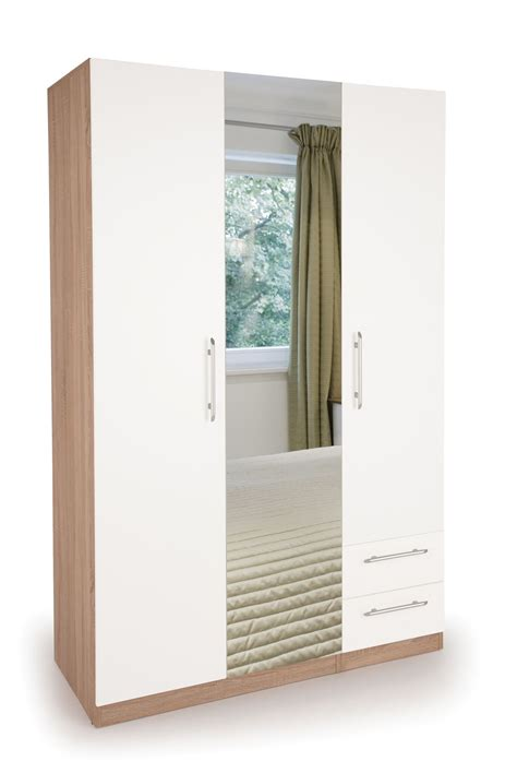 Wardrobe With Drawers And Mirror Connect Hyde 3 Door Wardrobe With 2 Drawers And Mirror