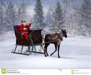 reindeer pulling a sleigh with waving santa claus stock