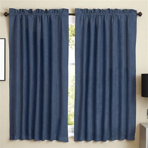 63 in curtain panels blazing needles 63 inch blackout curtain panels in indigo