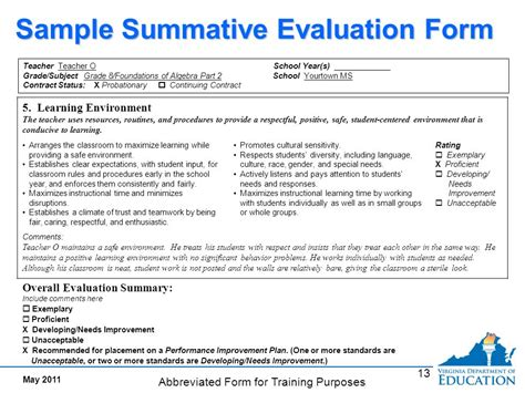 summative assessment template interim evaluation documents evidence of meeting standards