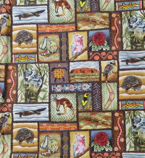 Patchwork Fabric Australia - quilting patchwork sewing fabric aboriginal animals cotton
