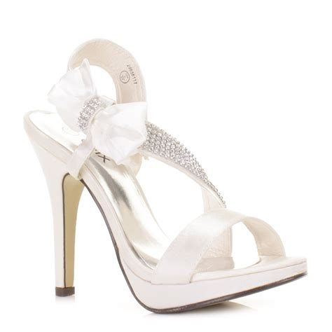 womens satin bow diamante high heel wedding bridal