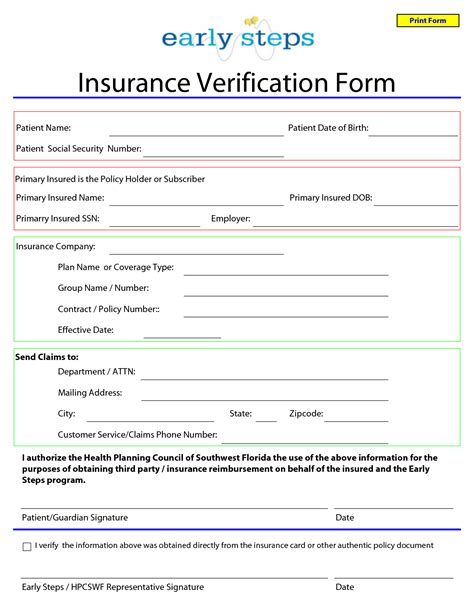 Health Insurance Verification Letter Template 8 Best Images Of Insurance Forms Printable Insurance Verification Form