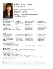 Theatre Resume Sample Pics Photos Free Acting Resume Samples And Examples