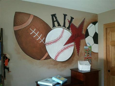 sports murals for bedrooms sports mural in little boys room my creations