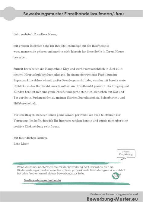 Bewerbungbchreiben Muster Ausbildung Kaufmann Im Einzelhandel Bewerbung Einzelhandelskauffrau Muster Kostenlose Anwendung Die Vorlage Zu Studieren