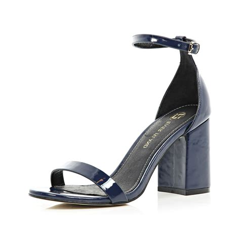 heeled sandal river island navy blue block heel barely there sandals in