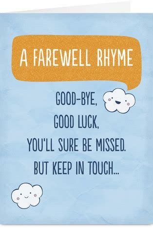 printable goodbye quotes farewell rhyme goodbye poem poem and cards