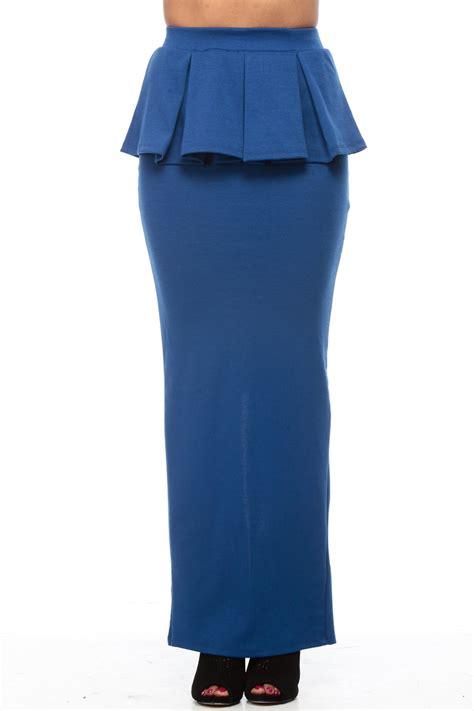 royal blue peplum pleated maxi skirt cicihot