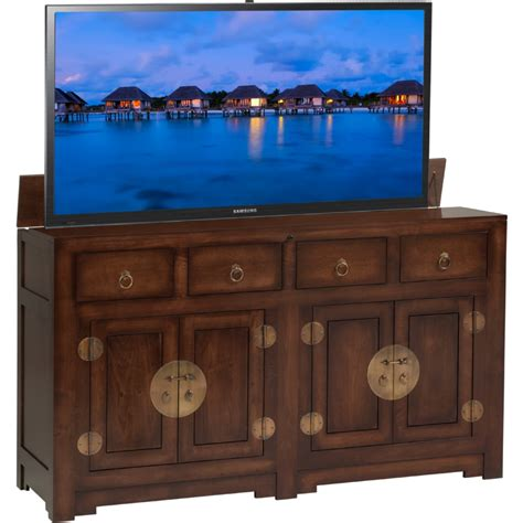 Dynamic Home Decor Tv Lift Cabinet At006544ac Ming 66 Quot Flat Panel Tv Pop Up Lift Cabinet In Antique Brown