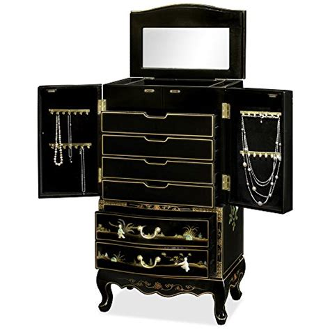 chinese jewelry armoire chinese inspired design black lacquered wooden large free