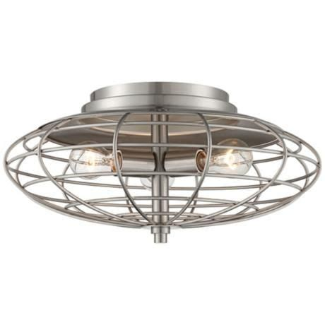 High Ceiling Light Fixtures by Industrial Cage Nickel 7 1 2 Quot High Ceiling Light Fixture