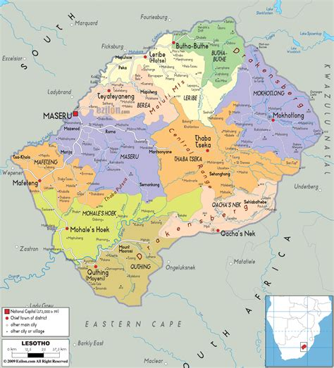 lesotho map detailed political map of lesotho ezilon maps