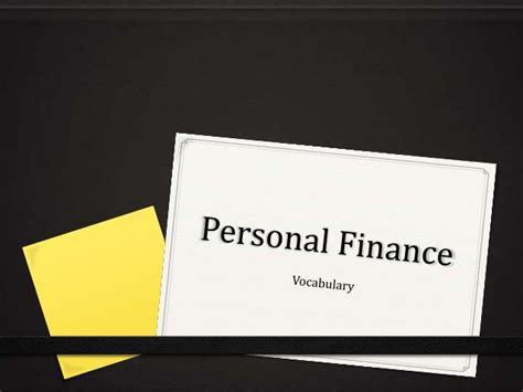 personal finance vocabulary