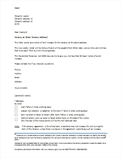 Rent Increase Letter Notice rent increase letter template for ms word document hub