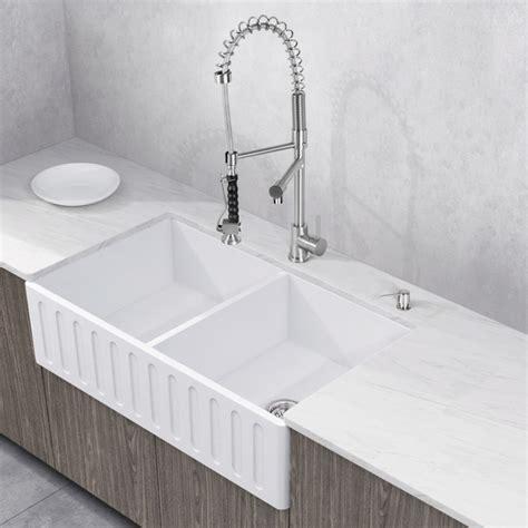 vigo matte farmhouse kitchen sink vigo 33 quot matte bowl farmhouse kitchen sink
