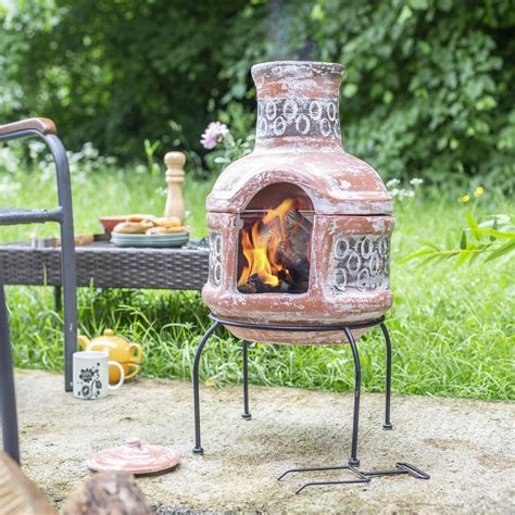 chimenea terra cotta terracotta and blue chiminea with grill by garden leisure