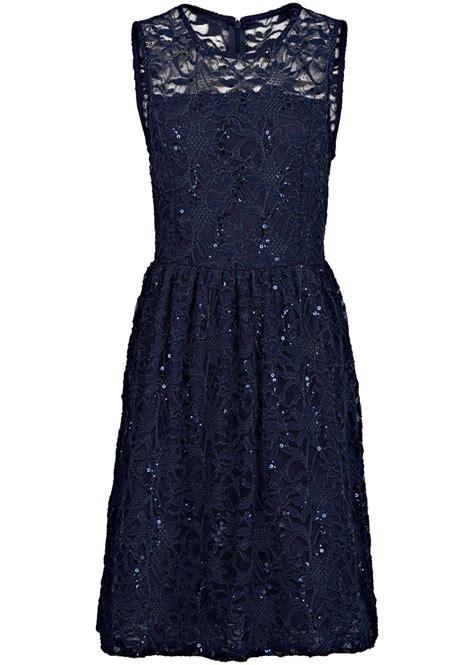 kleid schwarz blau spitzen kleid mit tellerrock blau