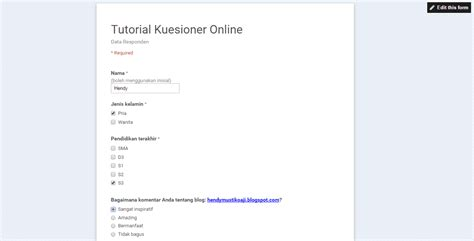 membuat kuesioner di google form tutorial membuat kuesioner online dengan google form