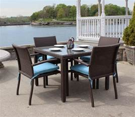 Outdoor Dining Furniture Wicker Patio Dining Set Of 5 Brown