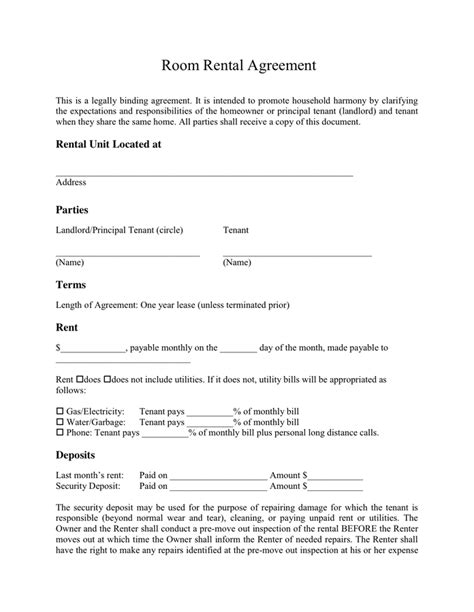 room rental agreement in word and pdf formats