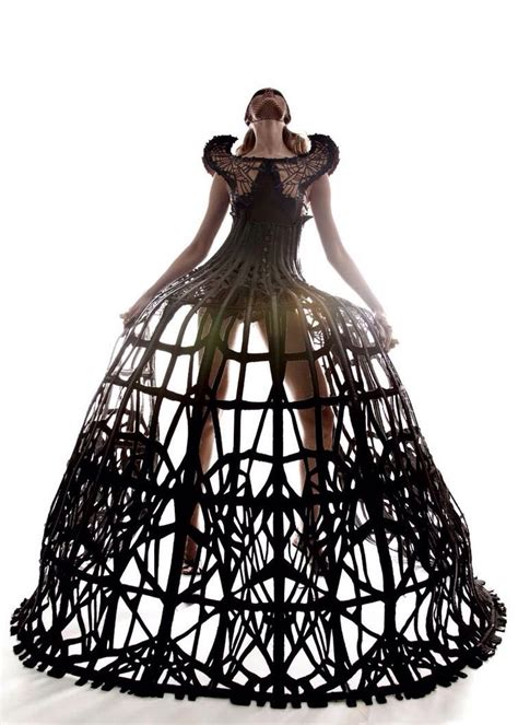 Cage Dress dramatic cage dress 3d fashion constructs sculptural