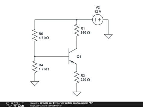 transistor bjt ejemplos circuito por divisor de voltaje con transistor pnp circuitlab