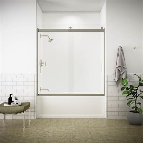 kohler bathtub shower doors kohler levity 59 in x 62 in semi frameless sliding tub