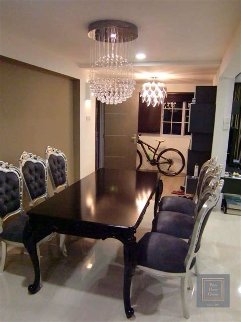 sleek impressive black dining table   silver grey ornate chairs modern french roc