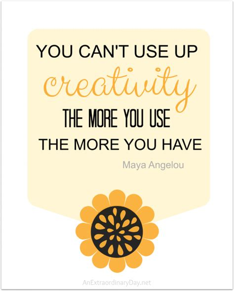 printable quotes by maya angelou you can t use it up creativity quote printable an