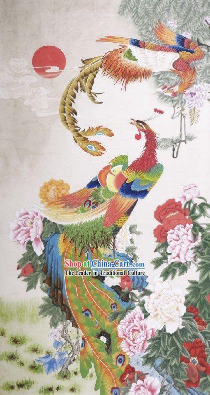 traditional chinese phoenix paintings phoenix peony