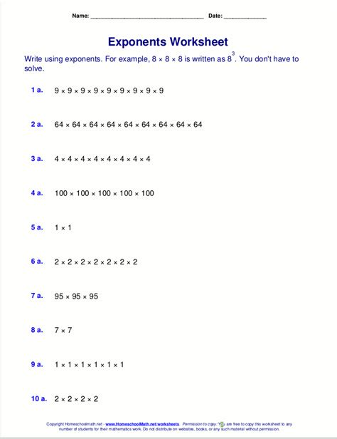 printable math worksheets with exponents free exponents worksheets