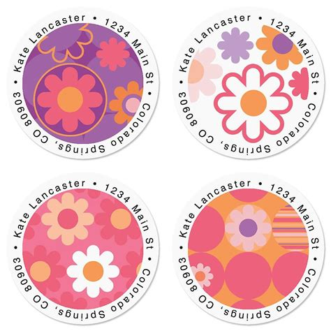 label design round daisy delight round return address labels colorful images