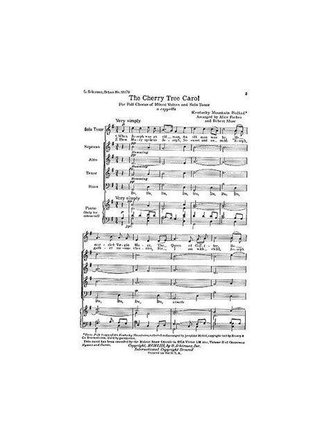 cherry tree song partitions cherry tree carol satb a cappella