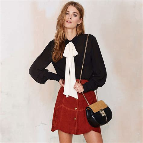 Blouse Rumbai Bow Black bow tie lantern sleeve chiffon blouse top