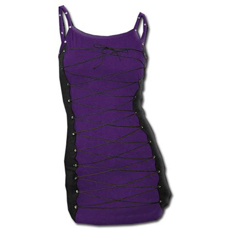 Lace Up Camisole Top spiral direct black purple lace up dress