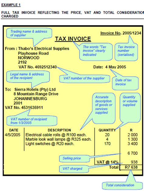 Tax Invoice Template South Africa   invoice example