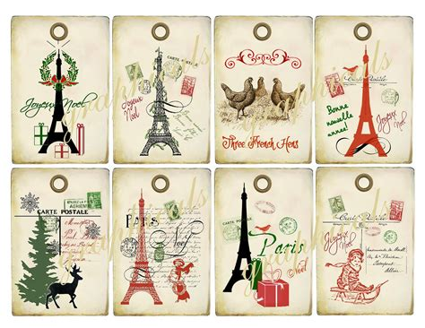gift cards printable lights decoration vintage collage tags instant digital by