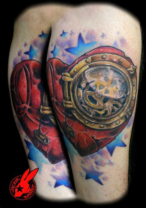 steampunk broken heart tattoo by jackie rabbit by